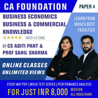 CA Foundation Paper 4 Business Economics and Business & Commercial Knowledge Online Classes by Pareeksha